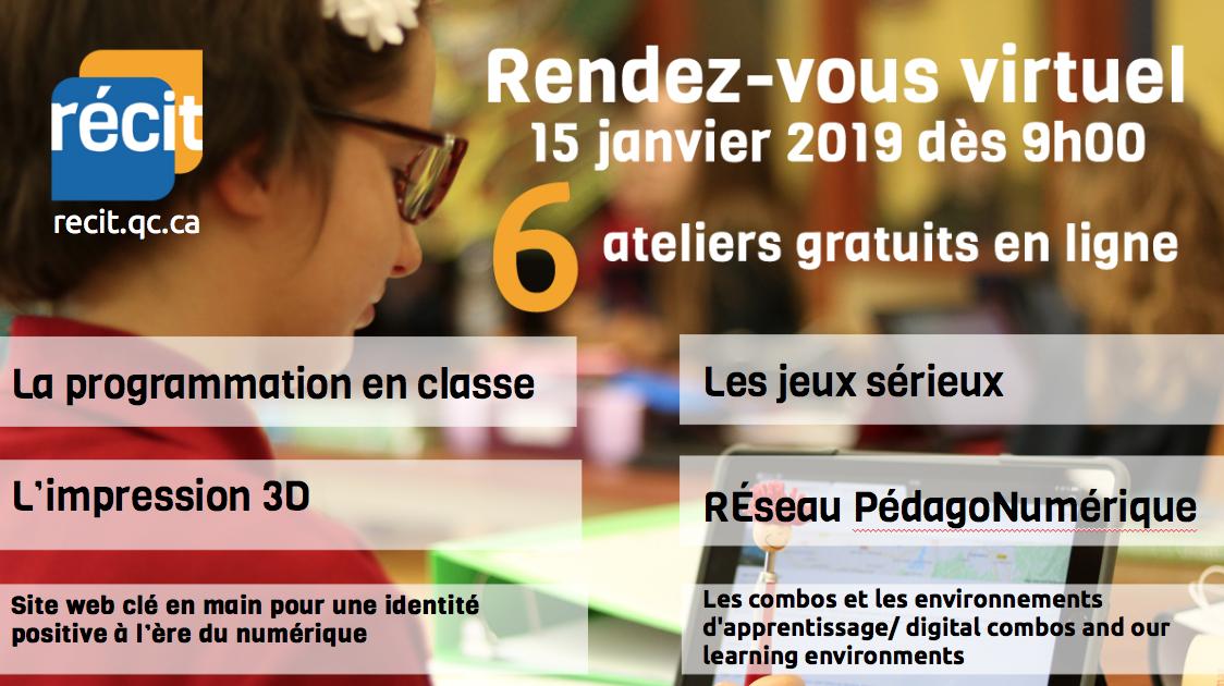 Rendez-vous virtuel du RÉCIT du 15 janvier : 6 ateliers gratuits !