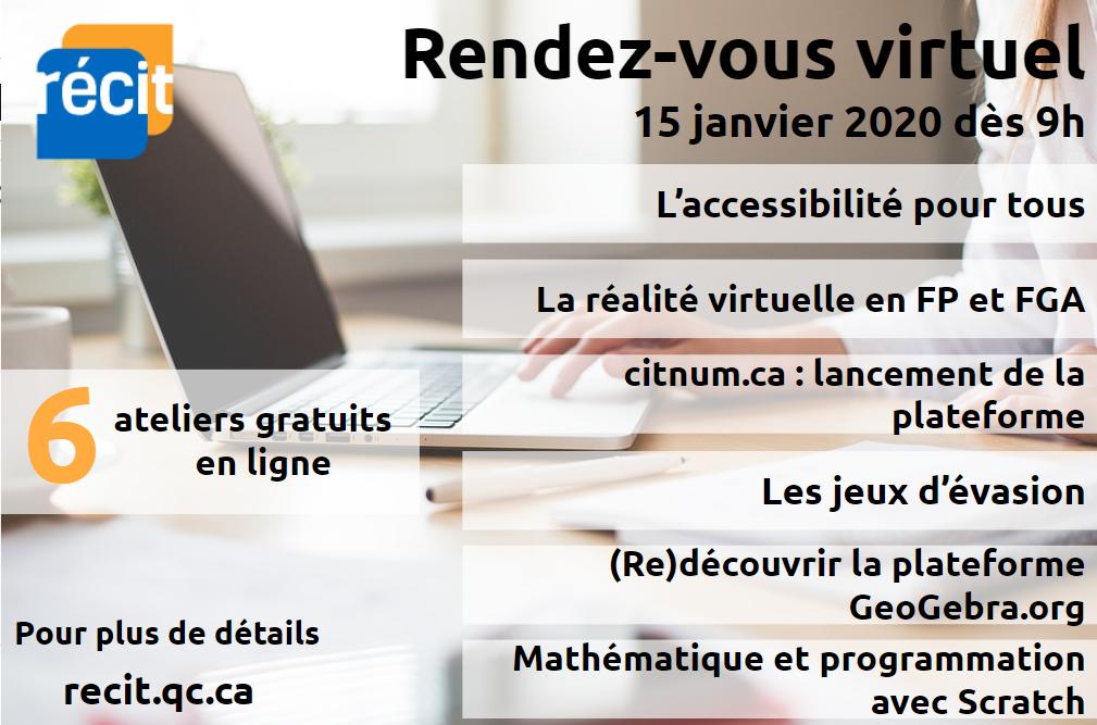 Précisions sur le RDV virtuel du RÉCIT du 15 janvier 2020