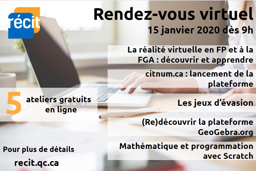 Rendez-vous virtuel du RÉCIT du 15 janvier 2020